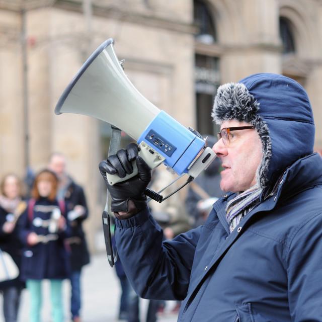 """""""Man Speaking Through Megaphone"""" stock image"""