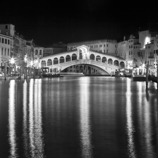 """Rialto Bridge by Night"" stock image"