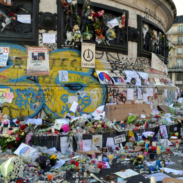 """Paris Attacks memorial wall"" stock image"