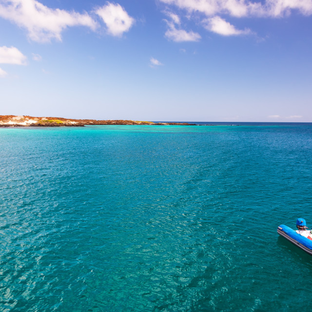 """""""Blue Ocean and Dinghy"""" stock image"""