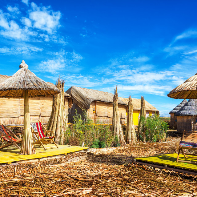 """""""Reed Houses and Umbrellas"""" stock image"""
