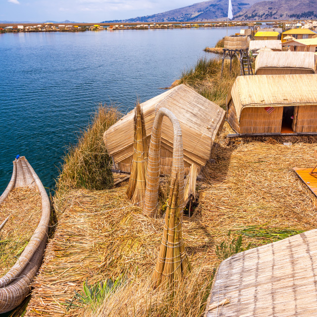 """Uros Islands and Boat"" stock image"