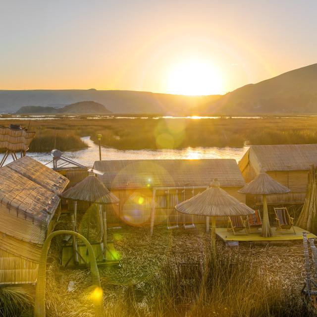 """""""Uros Floating Islands Sunset"""" stock image"""