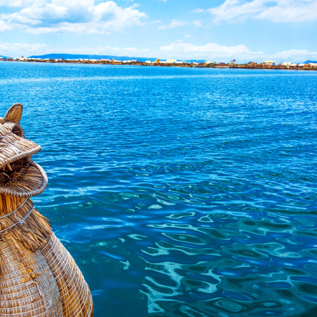 """Reed Boat and Lake Titicaca"" stock image"