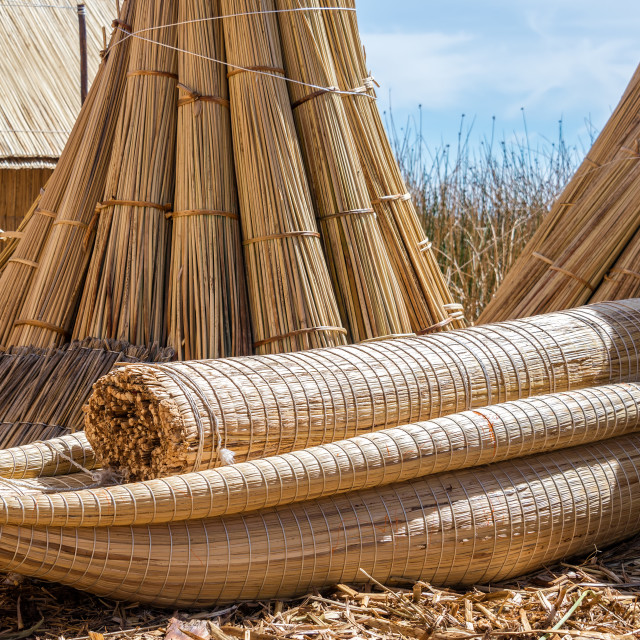 """Reed Boat on Uros Floating Islands"" stock image"