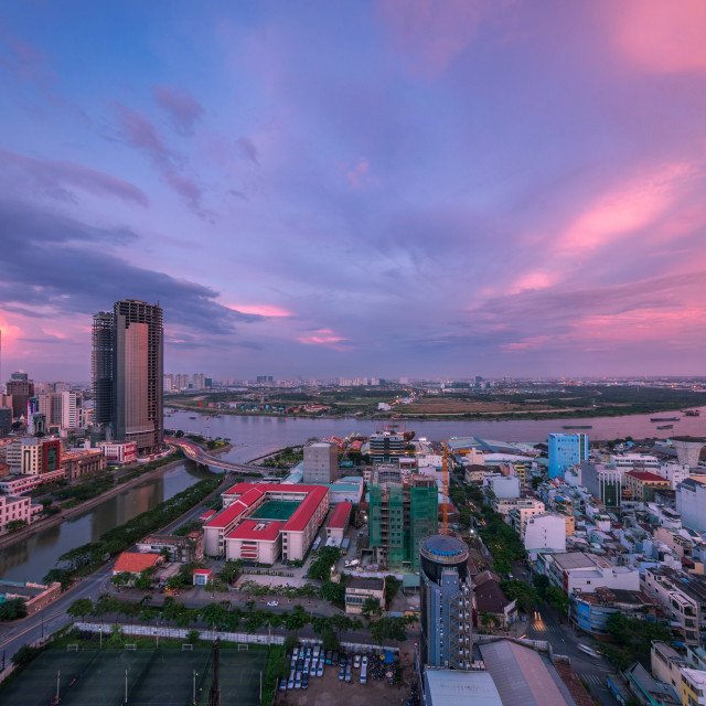 """Sunset on Saigon river"" stock image"