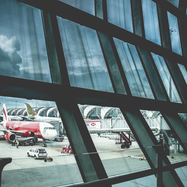"""""""Airplanes on ground at Suvarnabhumi Airport"""" stock image"""