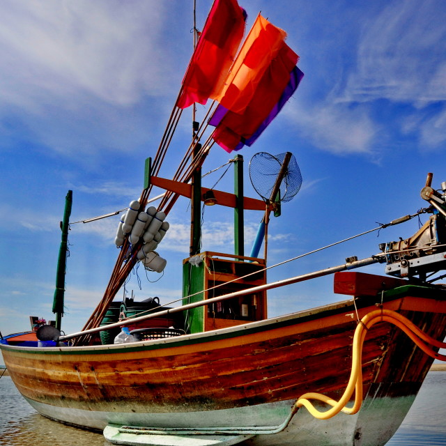 """Traditional Thai fishing boat"" stock image"