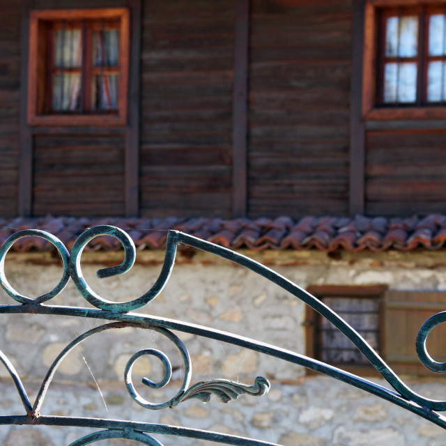 """Old house and wrought iron"" stock image"