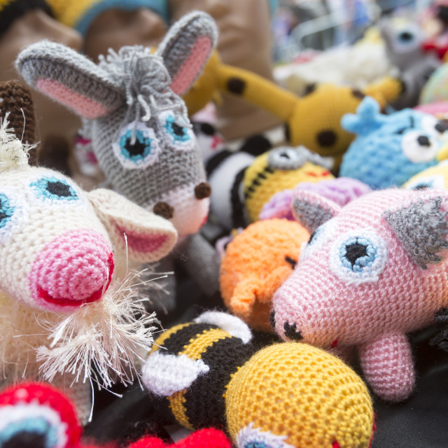"""""""Hand knitted colorful toys"""" stock image"""