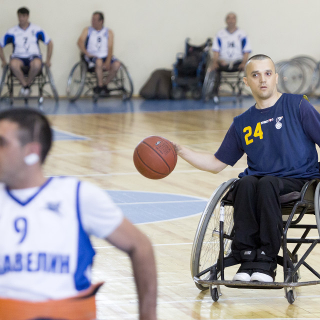 """""""Basketball in wheelchairs for physically disabled players"""" stock image"""