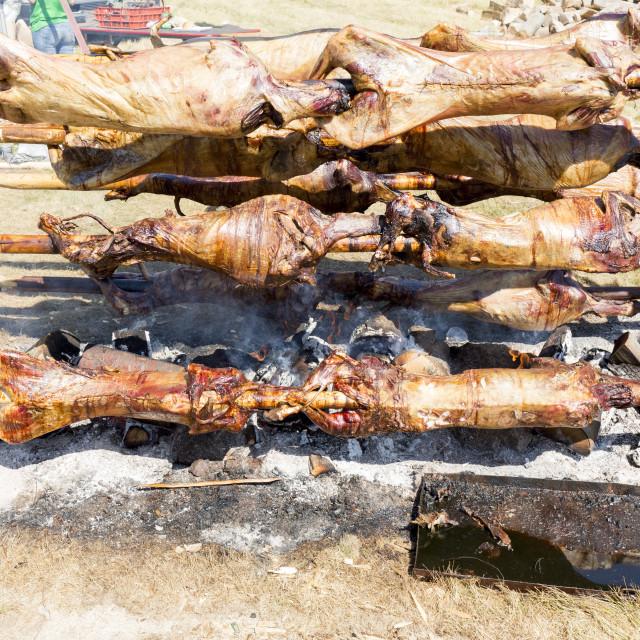 """Baking lamb outdoors in Bulgaria"" stock image"