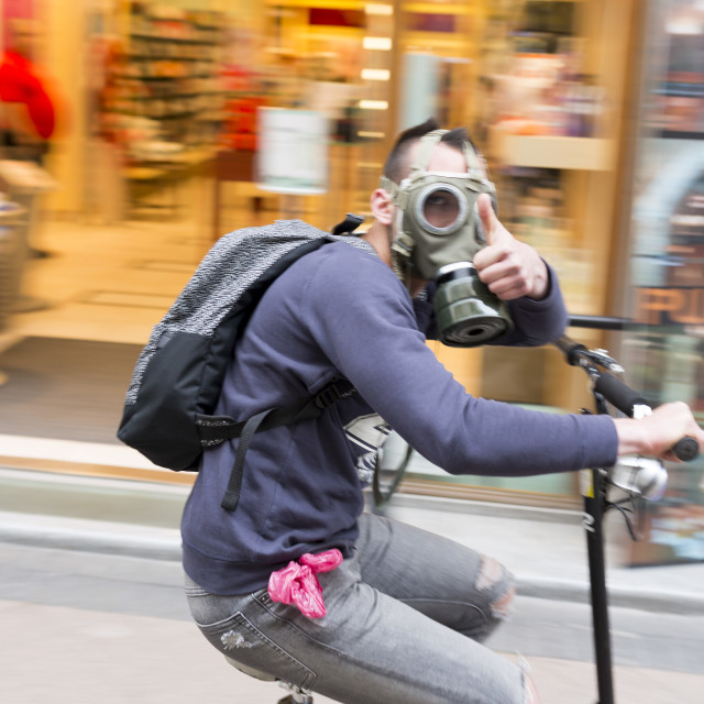 """Hungarian youth gas mask"" stock image"