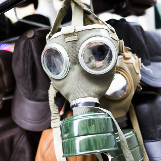 """Gas mask for sale"" stock image"