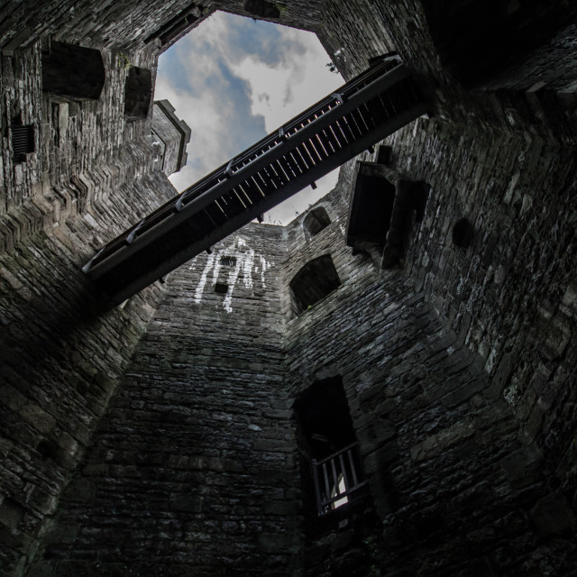 """""""Up the tower (reverse angle)"""" stock image"""