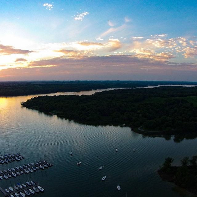 """Smithville MIssouri Lake at sunset"" stock image"