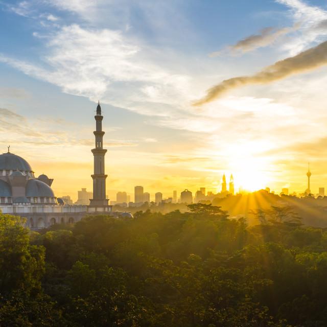 """Sunrise at Federal Mosque Kuala Lumpur"" stock image"