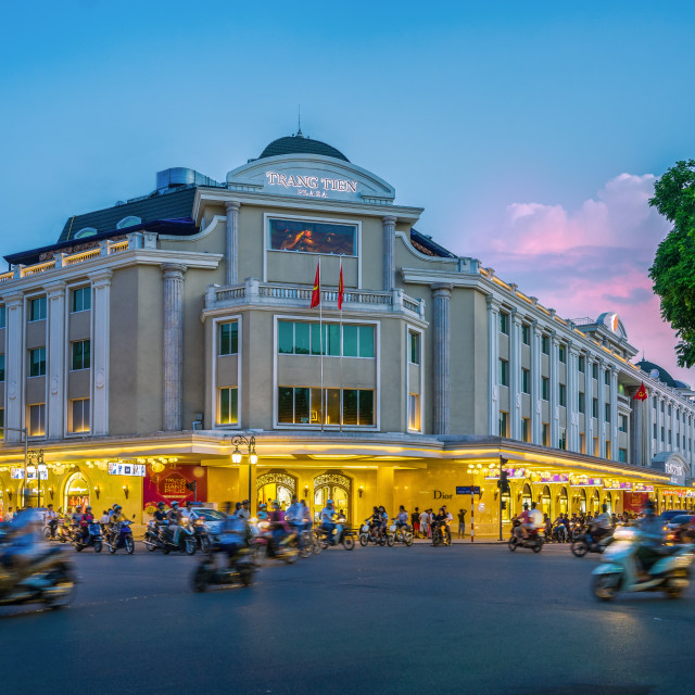 """Sunset on Trang tien plaza"" stock image"
