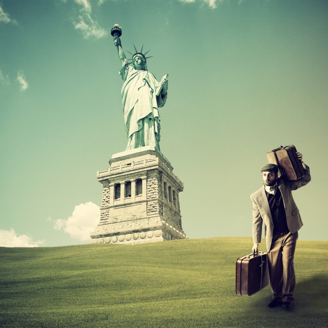 """""""Immigrant with the suitcases"""" stock image"""