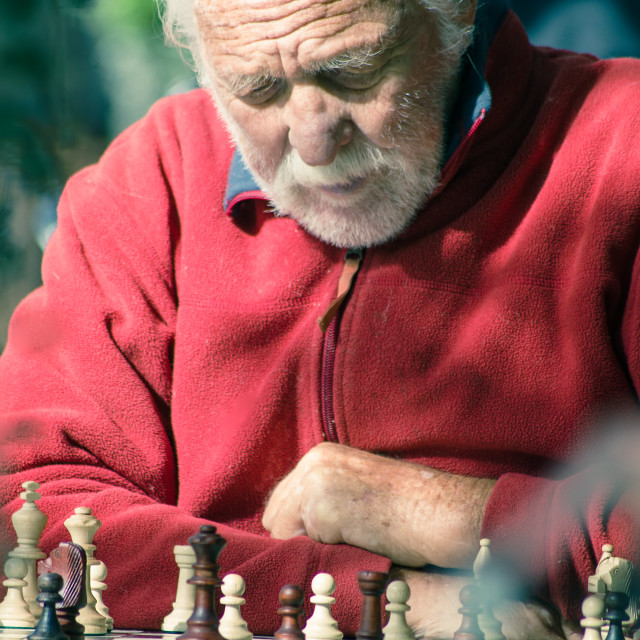 """Playing Chess With Himself"" stock image"