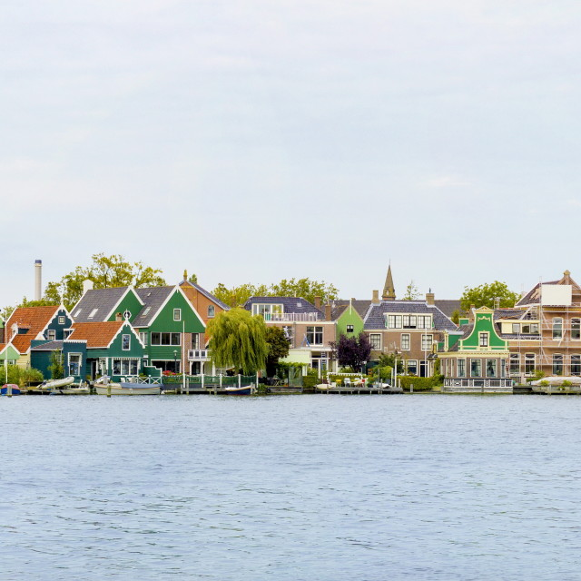 """Dutch houses in a village panorama, Zaanse Schans"" stock image"