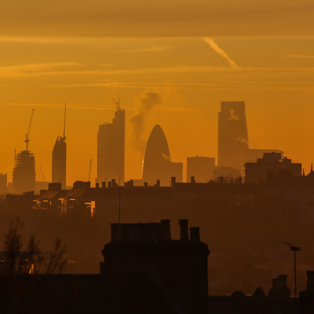 """City of London Sunrise"" stock image"