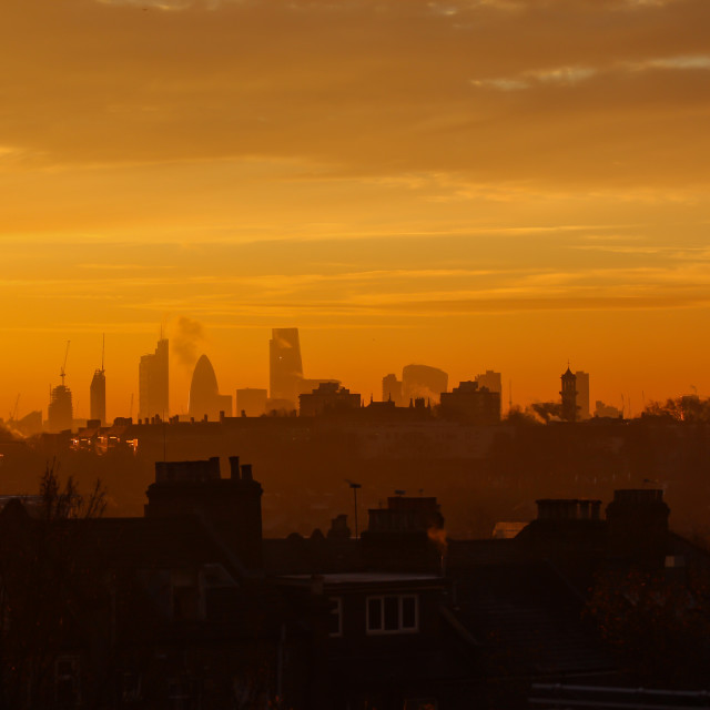 """A City at Sunrise"" stock image"
