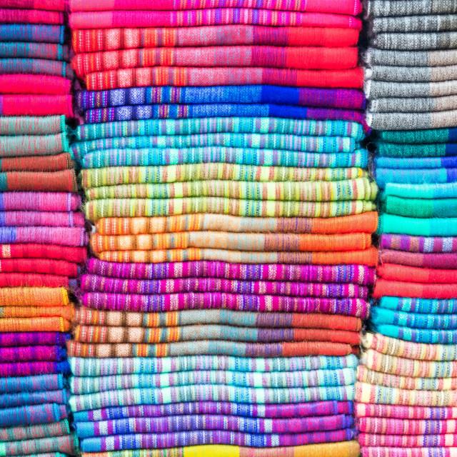 """Textiles in Otavalo, Ecuador"" stock image"