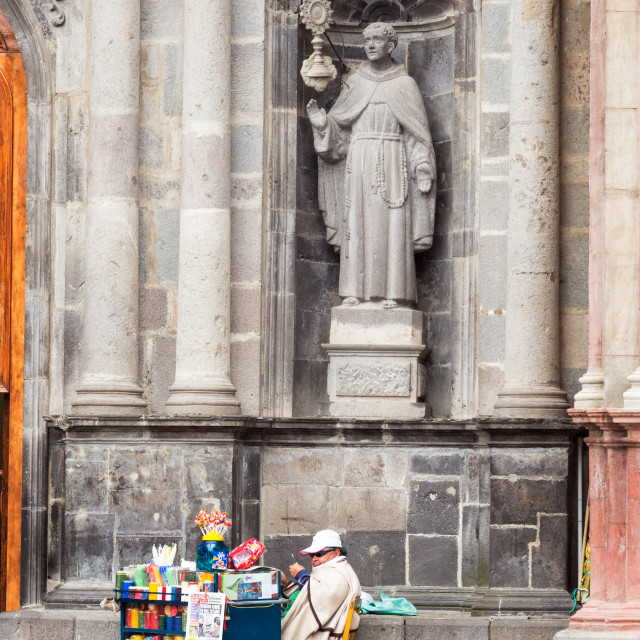 """Vendor and Church Facade"" stock image"