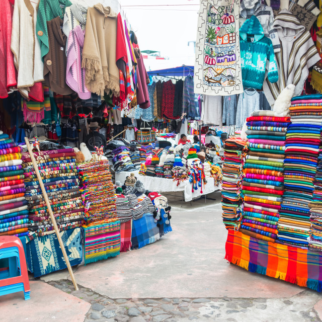 """Otavalo Souvenir Stands"" stock image"