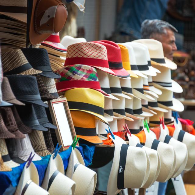 """""""Otavalo Market Panama Hats"""" stock image"""