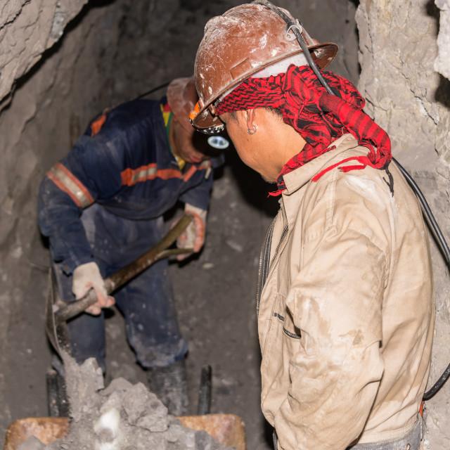 """""""Silver Miners in Potosi, Bolivia"""" stock image"""