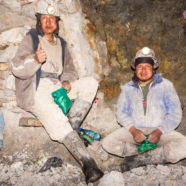 """Silver Miners Relaxing in Potosi, Bolivia"" stock image"