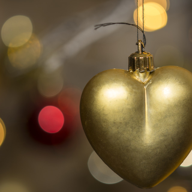 """Heart shape christmas decoration with bokeh lights"" stock image"