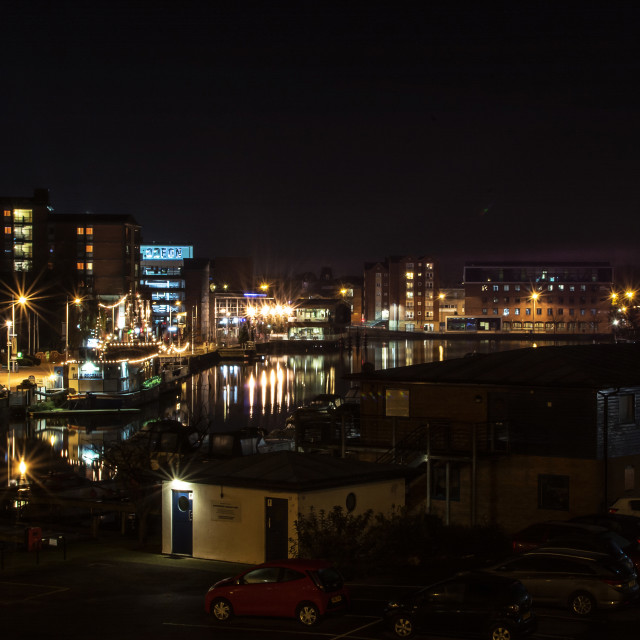 """Lincoln Brayford Pool at night"" stock image"