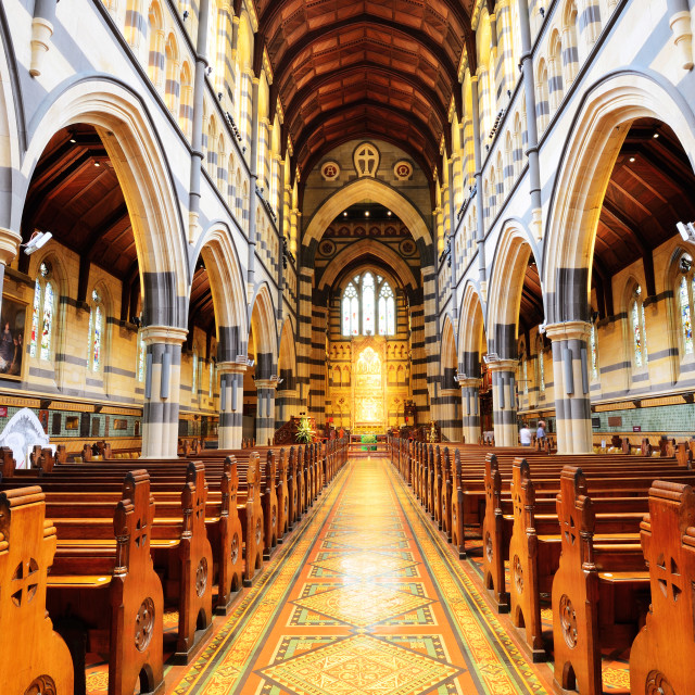 """Interior design of St Paul's Cathedral in Melbourne"" stock image"