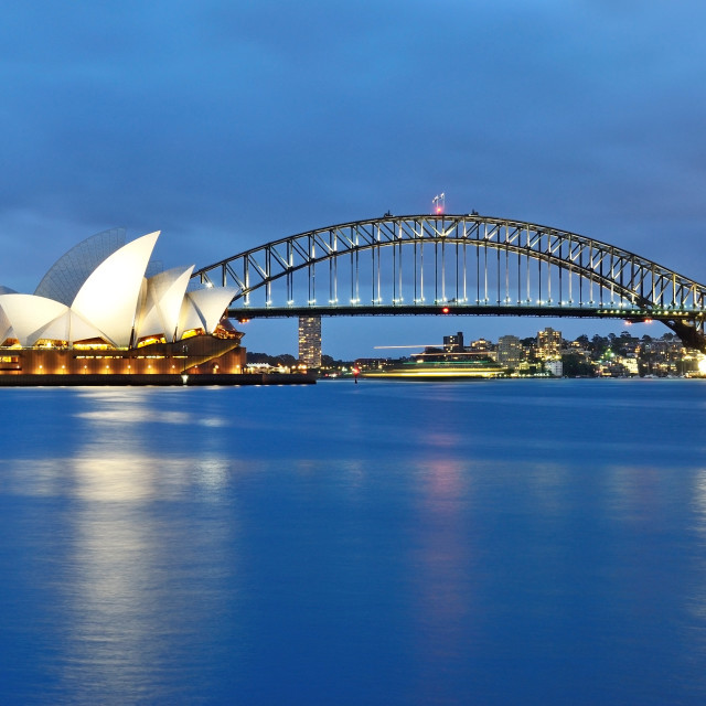 """The Sydney Opera House and the iconic bridge"" stock image"