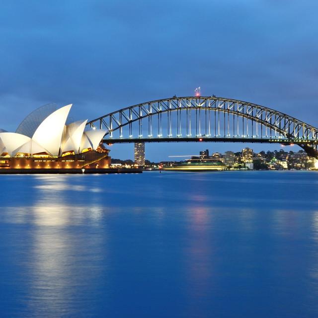 """""""The Sydney Opera House and the iconic bridge"""" stock image"""
