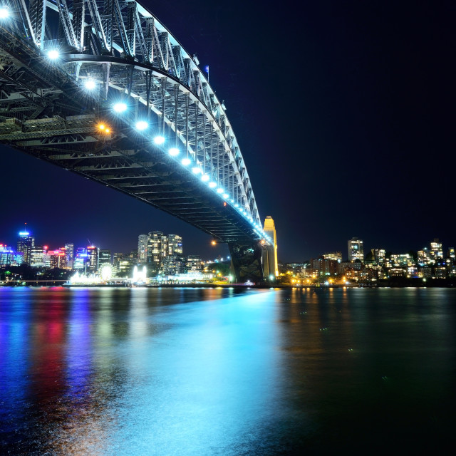 """Night scenery of the Sydney city Harbour bridge"" stock image"