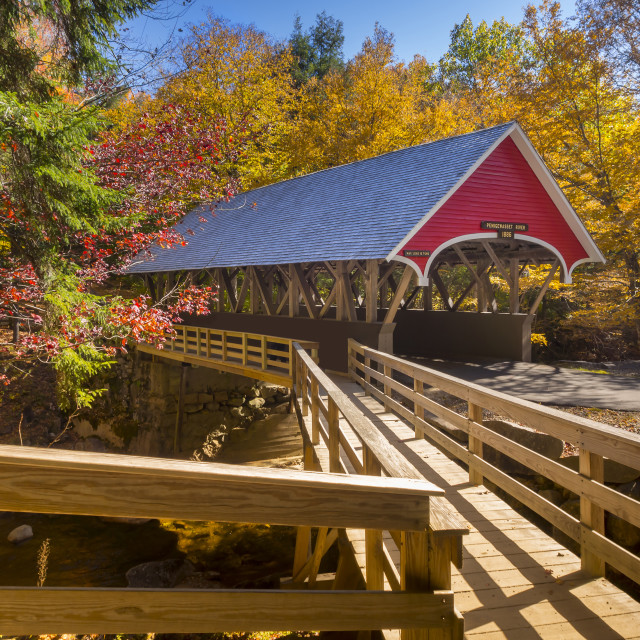 """Red covered bridge"" stock image"