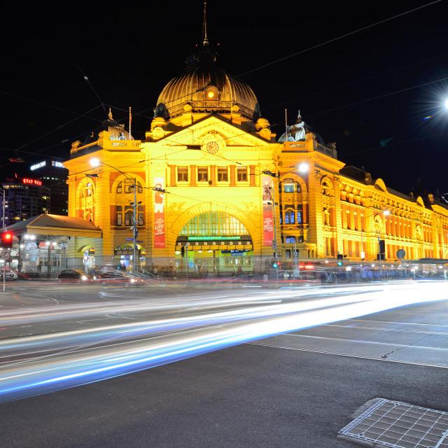 """Night scene of Flinders street station"" stock image"