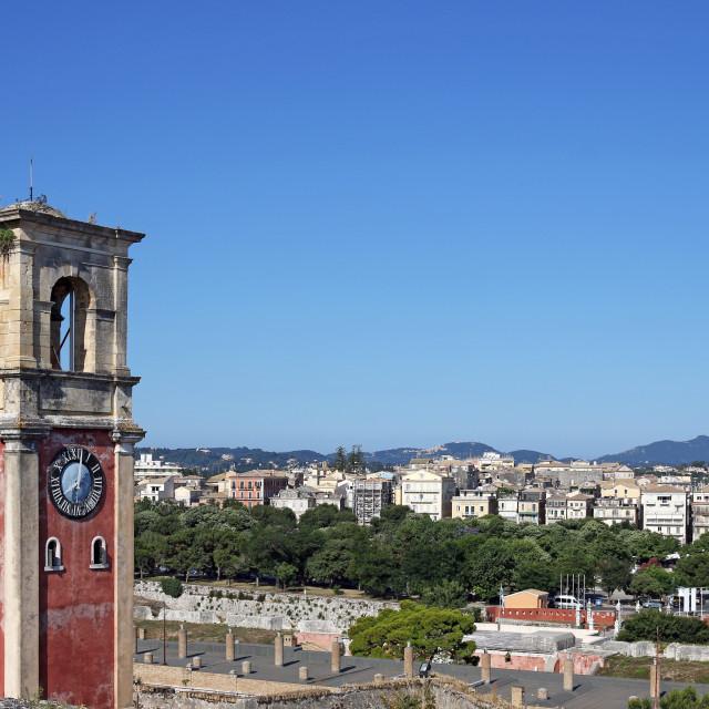 """old clock tower Corfu town landmark"" stock image"