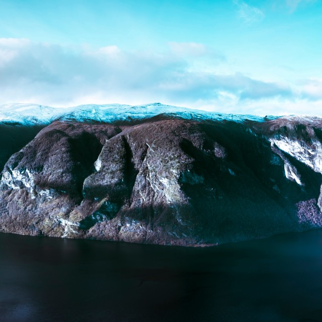 """View of Aurlandsfjord from Stegstein"" stock image"