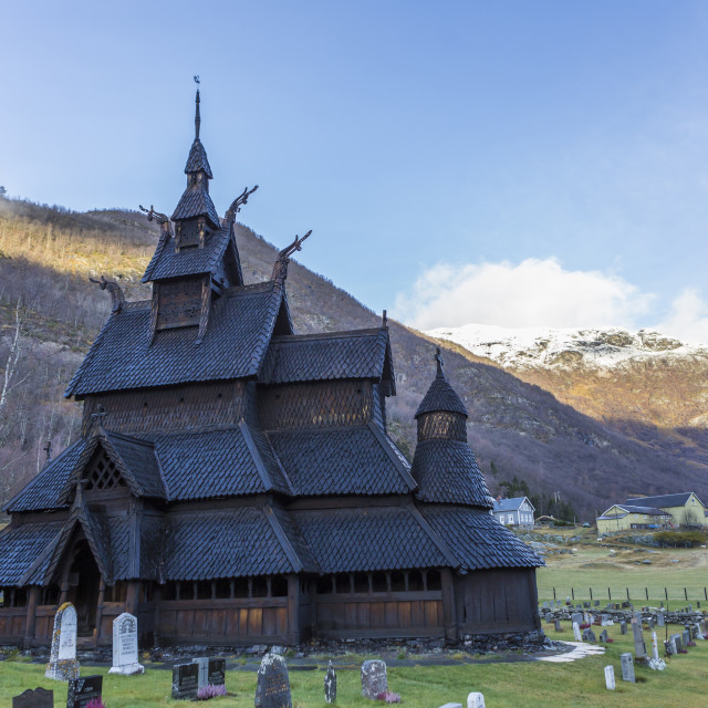 """Borgund Stave Church in Autumn"" stock image"