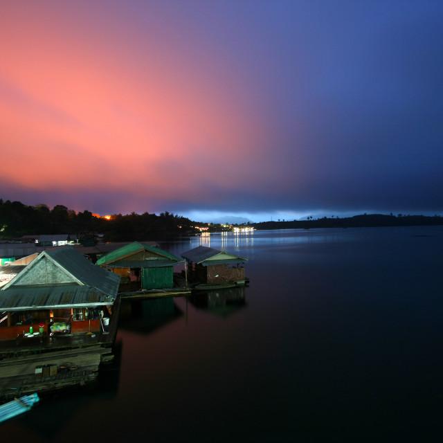 """""""Sunset on Wooden bridge( Mon Bridge )"""" stock image"""