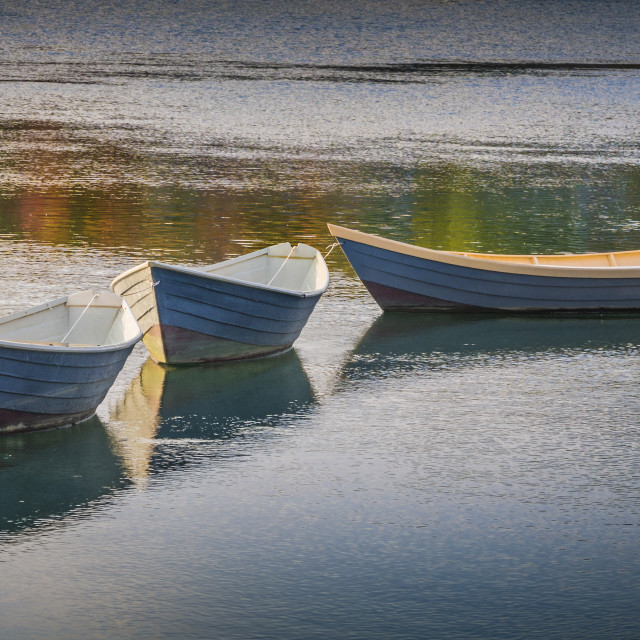 """Three dory rowboats"" stock image"