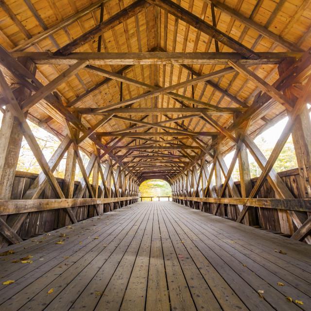 """Covered bridge interior view"" stock image"
