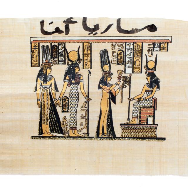 """Egyptian papyrus showing Nefertari and Isis"" stock image"