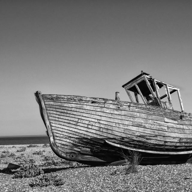 """""""Monochrome abandoned boat"""" stock image"""