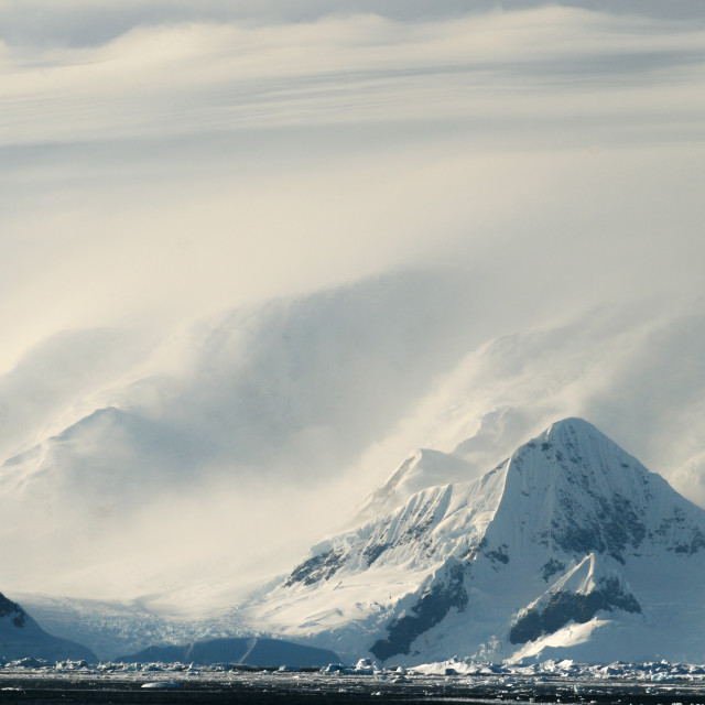 """Misty mountains on the Antarctic Peninsula"" stock image"